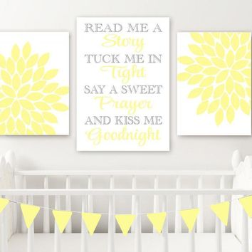 YELLOW GRAY Nursery Wall Art Decor, Read Me A Story Kiss Me Goodnight, Baby Girl Nursery Quote Decor, Yellow Gray Set of 3 Canvas or Prints