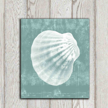 Seashell printable Turquoise Teal Bathroom wall decor Nautical Beach art print Beach house decor Cottage wall art Gift idea her DOWNLOAD