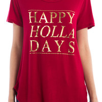 Happy Holla-Days Gold Foil Graphic Top