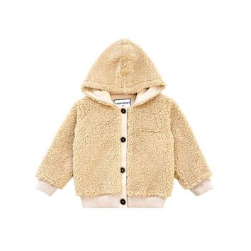Newborn Baby Boys Winter Jackets Soft Fleece Coat Khaki Army Green Hooded Outerwear Warm Toddler Baby Jacket for Boys Clothes