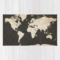 World Map - Ink lines Rug by Map Map Maps