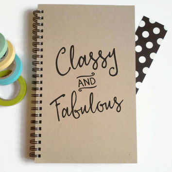 Writing journal, spiral notebook, cute diary, small sketchbook, scrapbook, memory book, 5x8 journal - Classy and Fabulous