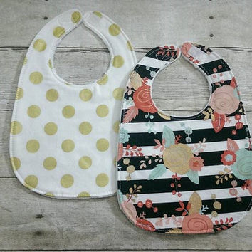 Gold coral pink baby girl minky bib set - set of 2 gold dots floral drooling triple layer baby toddler - baby shower gift