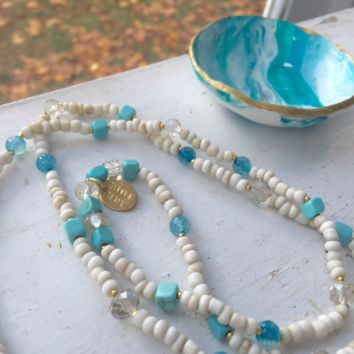 Long  beaded necklace with blue agate. Great Gift for Her (or yourself)