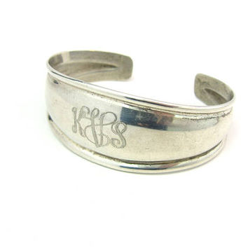 Sterling Silver Monogram Bracelet Wide Tapered Cuff Initials KVS KVL Mounded Center Rolled Edges Signed CE Vintage 1970s  American Jewelry