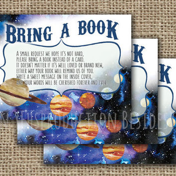 Bring a Book Instead of a Card Invitation Insert, Outer Space Birthday Party Printable, Boy Baby Shower Space Party, DIY Party, Solar System