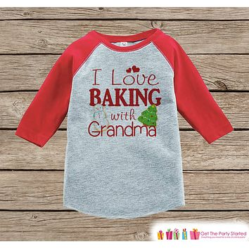 Kids Christmas Outfit - Baking With Grandma Holiday Outfit - Christmas Shirt or Onepiece - Boy Girl - Kids, Baby, Toddler, Youth