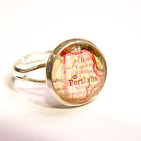 Portland Map Ring, Travel Ring, Adventure Ring, Map Ring, Glass Ring, Adjustable Ring