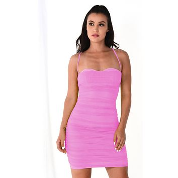 Light Bright Pink Sheer Mesh Sleeveless Spaghetti Strap Straight Neckline Ruched Bodycon Mini Dress