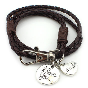 I Love You...Dad Charm Anchor Wrap Braided Leather Bracelet