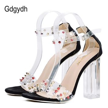 Women Crystal Sexy Open Toe Transparent High Heels