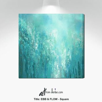 Teal and gray contemporary abstract canvas wall art for office, Living dining room pictures, Teal bedroom decor, Square sage green aqua blue