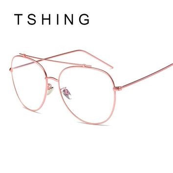 TSHING Unisex Fashion Brand Designer New Aviation Metal Glasses Frame Unique Top Clear Lens Frames Feamle Optical Glasses