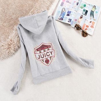 Juicy Couture Logo Sequin Velour Jacket 2199 Women Hoody Grey - Ready Stock
