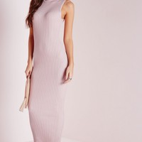 Missguided - Maxi Knitted Rib Dress Pink