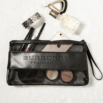 Burberry Trending Stylish Transparent Mesh Leather Cosmetic Bag Portable Hot Springs Wash Gargle Bag Zipper Handbag Black I12343-1