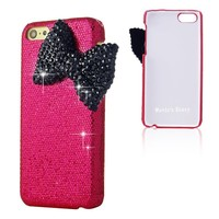Mavis's Diary for Iphone 5C Crystal Black Bow Diamond Bling Hot Pink Hard Cover Case with Soft Clean Cloth (One Hot Pink Case)