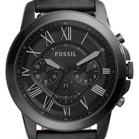 Fossil 'Grant' Chronograph Leather Strap Watch, 45mm | Nordstrom