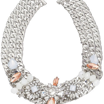 Layered Silver-Tone Chain Link Crystal and Stone Accented Statement Necklace,