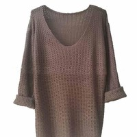 Women's V-Neck Long Sleeve Loose Pullover Sweater Retro Style Winter Clothings Knitted Sweater
