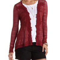 Crochet Trim Sweater Knit Cardigan by Charlotte Russe