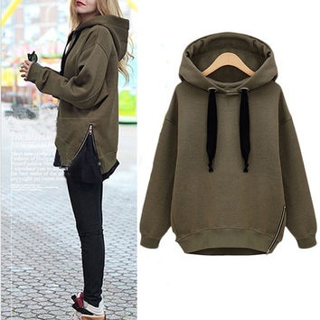 Women Hoodies Spring Autumn Causal Velvet Thickening With A Hood Side Zipper Loose Pullover