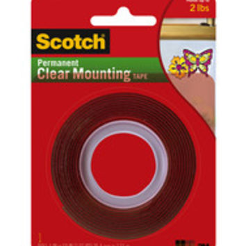 Scotch® Double-Sided Mounting Tape, Industrial Strength, 1 x 60, Clear/Red Liner