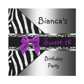 Sweet 16 Purple Silver Black Zebra Leopard Personalized Invites from Zazzle.com