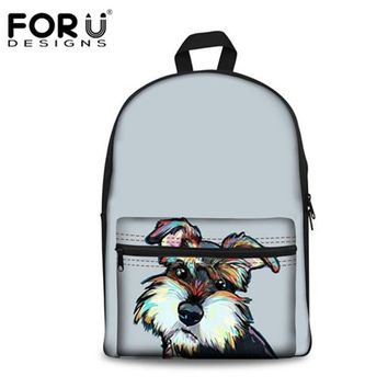 School Backpack trendy FORUDESIGNS Schnauzer Puppy Cute Canvas Children School Bags Backpack Women Girls School Shoulder Bag Large Laptop Bookbag Bolsa AT_54_4
