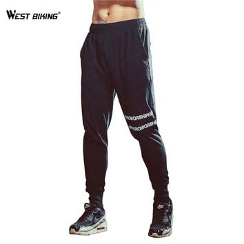 WEST BIKING Men Long Cycling Pants Elastic Fleece Quick Dry Breathable Running Yoga Track Pants Fitness Bicycle Trousers