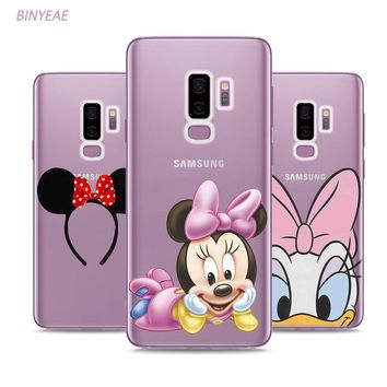BINYEAE Lovely Cute Mickey minnie Mouse Style Clear Soft TPU Phone Cases For Samsung Galaxy S9 S8 Plus S7 S6 S5 S4 Mini Edge