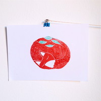Fox print linocut hand printed woodland art