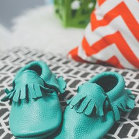 Treasure of the Tribe Moccasin - Turquoise - Kids