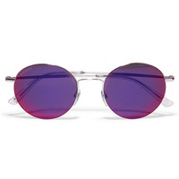 Gucci - Round-frame gold-tone mirrored sunglasses