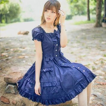 2018 new fashion brand lolita royal fairy tale summer retro Lolita dress Japanese soft sister ruffle bow princess dress w1967