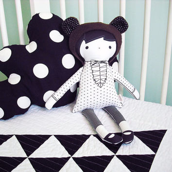 Modern black and white cloth doll - Sarlett the bear