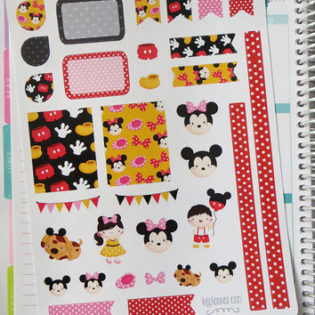 Mickey/Minnie Decorating Kit / Weekly Spread Planner Stickers for Erin Condren Planner, Filofax, Plum Paper