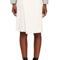 3.1 Phillip Lim Ivory Satin And Crepe Asymmetric Overlay Skirt