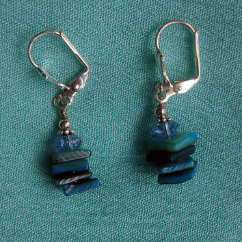 Mint Stacked Stone Drop Earrings