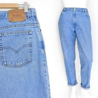Sz 14 90s Levi's 550 High Waisted Jeans -Vintage Women's Relaxed Fit Tapered Leg Jeans