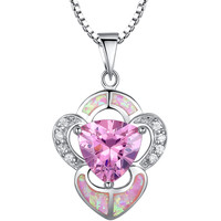 Sterling Silver Heart W. Pink Fire Opal and Cubic Zirconia Pendant Necklace