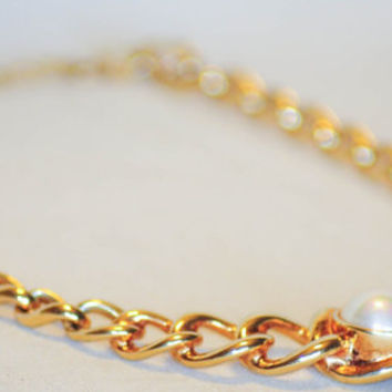 Vintage Christian Dior Gold & Mabe Pearl Signed Collar Necklace