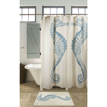 Seahorse Shower Curtain Beach Ocean Style 100-percent Cotton