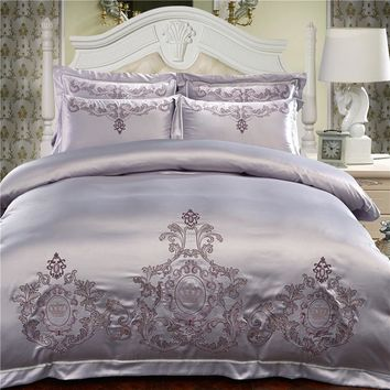 Silver Cotton Chinese Embroidery Bedding Sets Queen King size Luxury Red Wedding Duvet cover Bed sheet/linen set Pillowcase