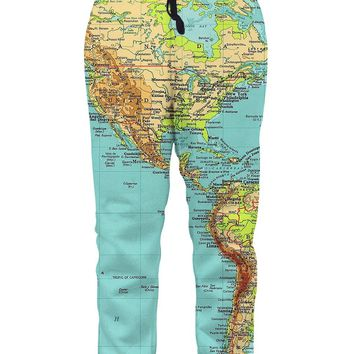 Leapparel Men's Unisex 3D Printed Casual Gym Sports Jogger Pants With Drawstring Galaxy Graphric Baggy Sweatpants (XXL, Map)