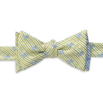 Crab/Skipjack Seersucker Bow Tie in Summer Green and Ocean Channel by Southern Tide
