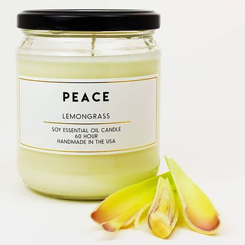 Peace Lemongrass Scented Soy Jar Candles
