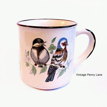 Vintage Stoneware Bird Mug, Coffee Cup, Ceramic Tea Cup