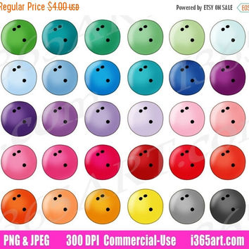 50% OFF SALE Bowling Ball Clipart, Bowling Ball Clip Art, Sports, Fitness, Fun Games, Scrapbooking, Planner Stickers, PNG, Commercial