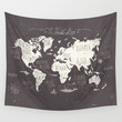 The World Map Wall Tapestry by Mike Koubou